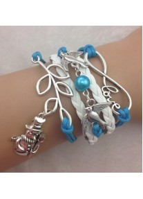 Infinity Bracelet Festive with Xmas Snowman, pearl, birds and love infinity charm - White and Blue