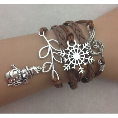 Infinity Bracelet Festive with Xmas Snowman, music note and snowflake charm - Brown