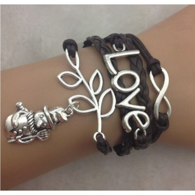 Infinity Bracelet Festive with Xmas Snowman, branch, Love and infinity charm -Dark Brown