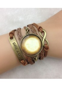 Infinity Bracelet with Bronze Dream, Infinity & Golden Sun Glass Cabochon Charms - Brown