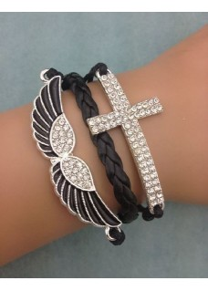 Infinity Bracelet with Black Enamel Painted Crystal Angel Wings & Crystal Encrusted Cross charms - Black