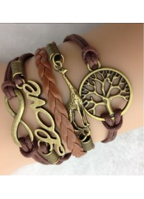 Infinity Bracelet Africa Inspired with Bronze Tree Giraffe Love and Infinity Charm - Brown