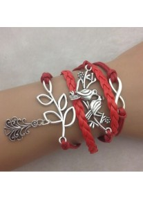 Infinity bracelet Festive with Christmas Tree - Red