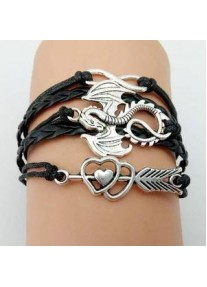 Infinity Bracelet Dragon charms - Black