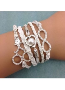 Infinity Bracelet with Crystal scissors, heart pearl & Infinity Charm - White