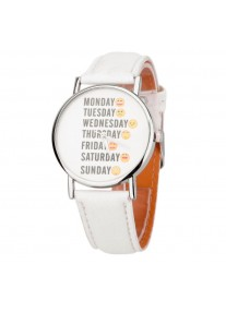 On Time Emoticon watch - White
