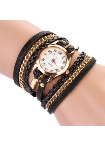 Multilayer wrap Bracelet Watch with Gold chain - Black