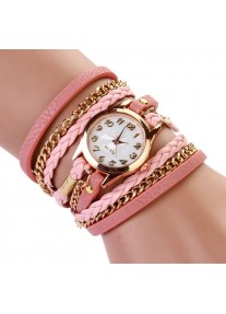 Multilayer wrap Bracelet Watch with Gold chain - Pink