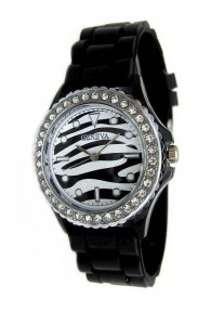 Geneva Crystal Gemstone Silicone Jelly Watch - Zebra Black