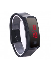 On Time Sporty Silicone Jelly LED Watch - Black