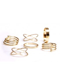 Ring Bling - 6 piece Gold plated Midi ring set