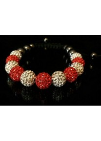Shamballa Shimmer Crystal Bracelet Colour: Crystal & Light Siam Red