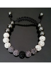Shamballa Shimmer Crystal Bracelet Colour: Crystal, Jet & Black diamond