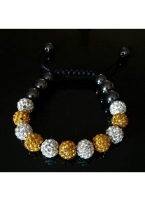 Shamballa Shimmer Crystal Bracelet Colour: Crystal & Gold