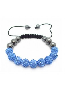 Shamballa Shimmer Crystal Bracelet Colour: Light Sapphire