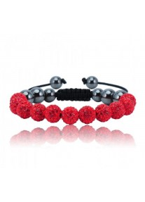 Shamballa Shimmer Crystal Bracelet Colour: Deep Red