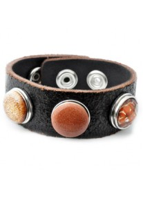 Snap Bracelet Genuine Leather Including 3 Snaps, Cracked Black, Autumn Inspired