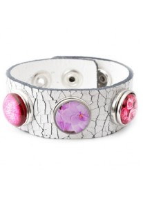 Snap Bracelet Genuine Leather Including 3 Snaps, Cracked White, Pretty In Pink