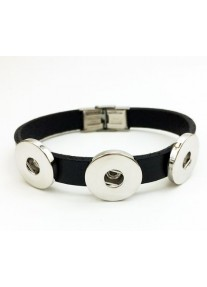 Snap Bracelet for three snaps leather Narrow - Black