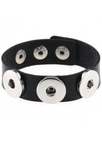 Snap Bracelet for three snaps pu leather Wwide Cuff - Black