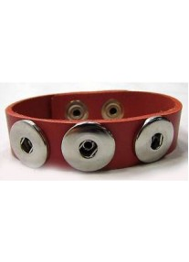 Snap Bracelet for three snaps pu leather- Red