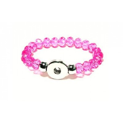 Snap Creations Faceted Glass Beaded Stretch Bracelet - Pink