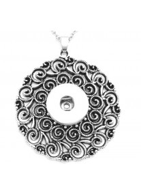 Snap necklace for 18mm snaps with chain - Round Ornate Swirls