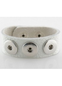 Snap Bracelet for three snaps pu leather - White