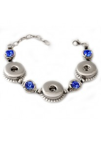 Snap Bracelet for Three Snaps with Sapphire Blue Crystals