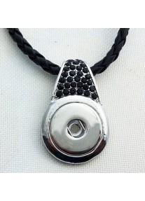 Snap Necklace Black Braided Leather with Black Crystal Accent & Magnetic Clasp