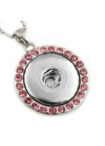 Snap necklace for 18mm snaps Round with Pink Crystals