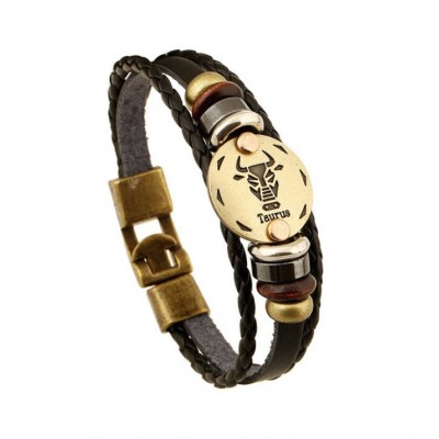 Vintage Leather bracelet with Bronze Star-sign disk charm - Taurus