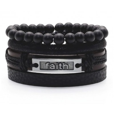 Vegan Leather Beaded Bracelet Stack - Faith - Black and Brown