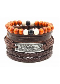Vegan Leather Beaded Bracelet Stack with Feather - Brown