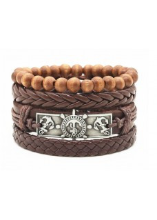 Vegan Leather Beaded Bracelet Stack Nautical - Brown