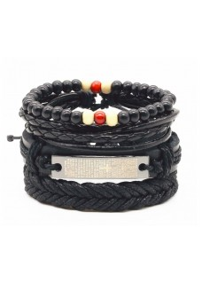 Vegan Leather Beaded bracelet stack Padre Nuestro - Black