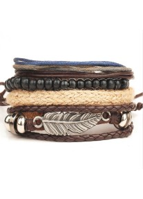 Vintage Leather Beads and Leather bracelet stack - Feather