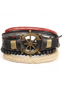 Vintage Leather Beads and Leather bracelet stack - Ships Wheel