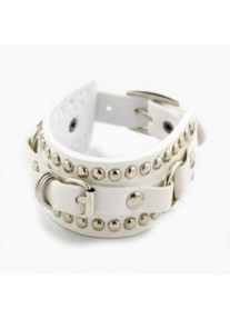 Urban Leather - PU Leather Retro Punk Cuff Bracelet with Silver Metal Studs Rings Rivets Belt Buckle - White