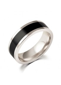 URBAN MAN Stainless steel and black inlay detail ring