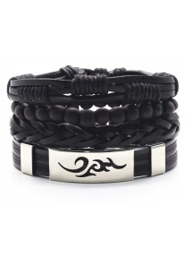 Urban Man Vegan Leather and Silicone Beaded Bracelet Stack Tribal - Black